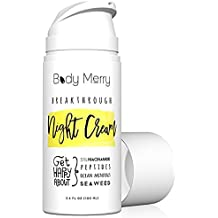 Body Merry Breakthrough Night Cream - Anti aging face moisturizer w Niacinamide + Peptides + Hyaluronic Acid for signs of aging (wrinkles, fine lines) & dry / sensitive skin - Perfect for men & women