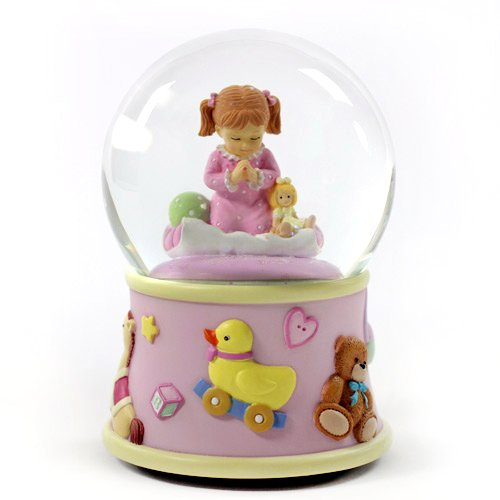 Bedtime Prayers Girl, Rotating Water Globe San Francisco Music Box 842970048725
