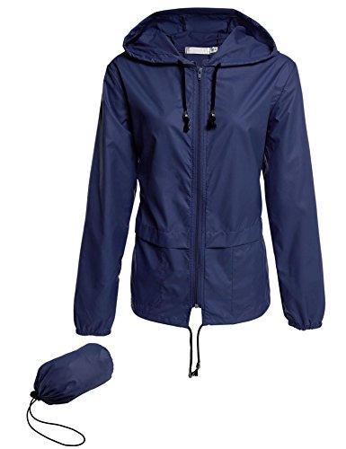 Impermeabile Cappuccio Con Packable All'aperto Navy Giacca Donne Blu Leggero zip Fastdirect Escursioni Asciugatura Front Delle Rapida aYAnWnp7