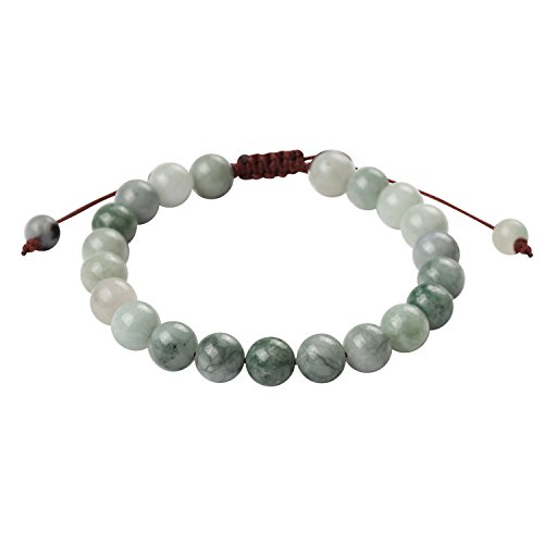 iSTONE Knitting Adjustable Mens Womens Natural Gemstone 8mm Jadeite Jade Round Beads Healing Power Bracelet