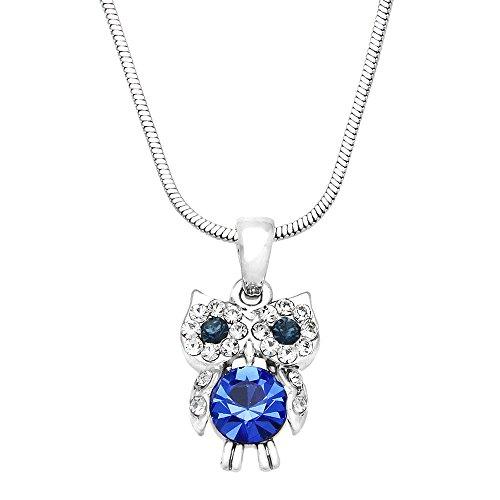 (Falari Owl Pendant Necklace Rhinestone Crystal Rhodium High Polished (Style 2 - Sapphire))