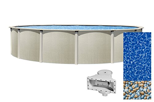 Wilbar Impressions 24-Foot Round Above-Ground Swimming Pool   48-Inch Height   Resin Protected Steel-Sided Walls   Bundle with Bedrock Pattern 25 Gauge Overlap Liner and Widemouth Skimmer