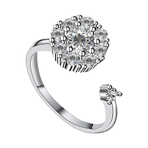 (DONGMING Creative Rotary Crystal Ring for Women Alloy Rhinestone Open Ring Fashion Party Rings Jewelry Gift)