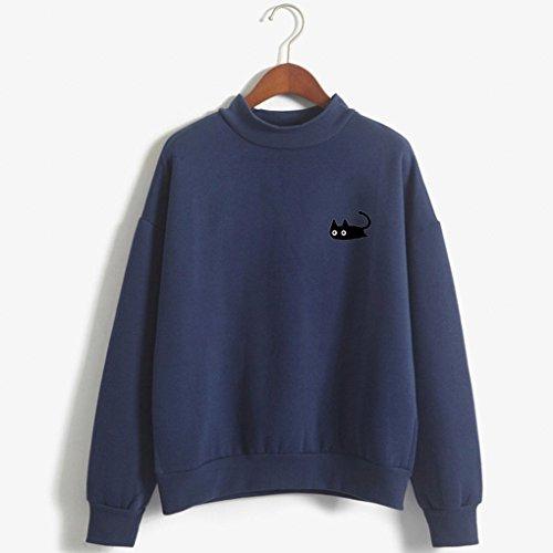 Tops Bonito Sweatshirt Cuello Sudaderas Manga O Impresión Hoodie Blusa Azul Mujer Minetom Larga Oscuro Pullover Gatito Primavera ASRx0Pw6qH