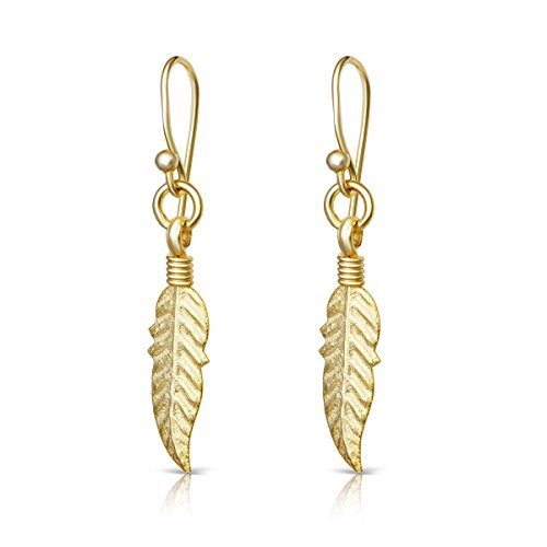 Sterling Silver Gold Feather (14K Yellow Gold Plated Sterling Silver Feather Design Drop Dangle Earrings)