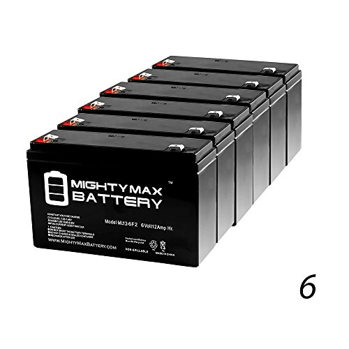6V 12AH F2 Replaces 10Ah Ritar RT6100 F2, RT 6100 F2 - 6 Pack - Mighty Max Battery brand product by Mighty Max Battery