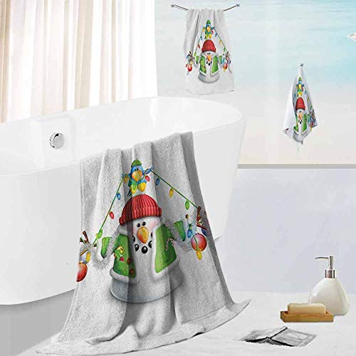 Leigh R. Avans Snowman,Home Bath Hand Washcloth Set Cartoon Whimsical Character with -