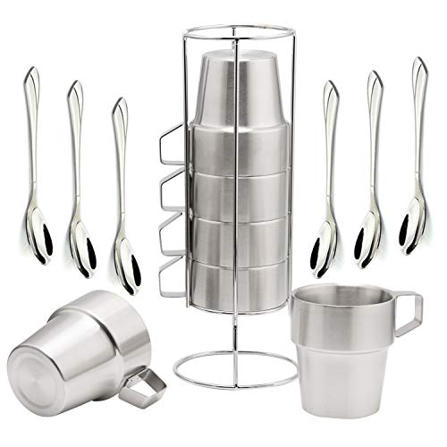 Stackable Mugs Set of 6 with StandInsulated Coffee Mugs Stainless Steel Espresso Tea Cups Double-layer Insulated with 6 Bonus Coffee Spoons Silver by SOPRETY ()