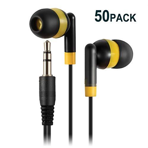Keewonda Wholesale Bulk Earbuds Headphones - 50 Pack Cute Earphone Colored Earbuds for Kids Teens Students (Black/Yellow) from Keewonda