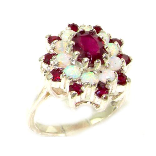 925 Sterling Silver Natural Ruby And Opal Womens Promise Ring   Size 5 5