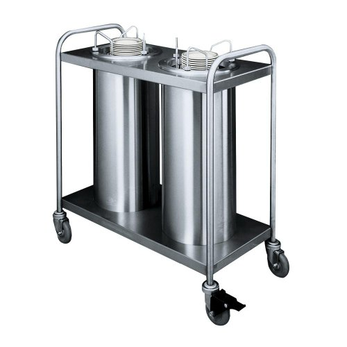 Mobile Lowerator Dispensers Two Tubes - APW Wyott Lowerator Trendline Mobile Adjustube II Heated Dish Dispenser, 3 1/2 to 9 1/8 inch for each Tube -- 1 each.