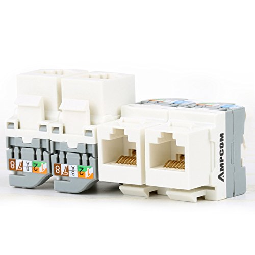 5-Pack CAT5e Tool Less Keystone Jack,AMPCOM RJ45 Self-Locking Cat.5e Keystone Module Adapter No Punch-Down Tool Required Couplers for Wall Plate UTP White