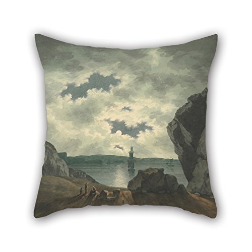 Artistdecor Oil Painting John Warwick Smith - Bay Scene In Moonlight Christmas Pillowcover 20 X 20 Inches / 50 By 50 Cm Gift Or Decor For Divan Chair Gril Friend Office Outdoor Wedding - Twice Sides