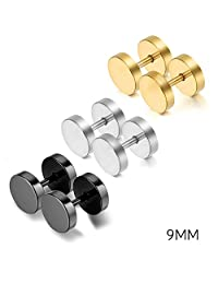 Oidea 6pcs Assorted Color Stainless Steel Screw Earring Studs for Men Women,Hypoallergenic