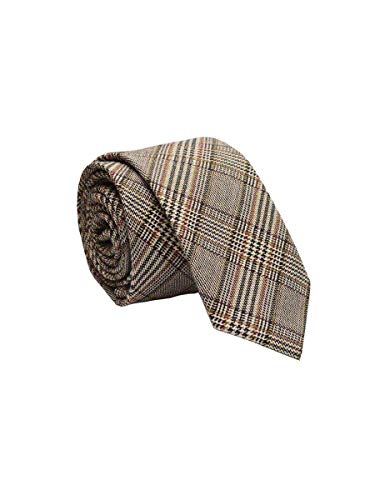 FON ALLEY 2.4'' Men's Casual Handmade Plaid Striped Cashmere Wool Slim Necktie (Light Khaki 4)