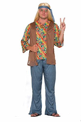 [Adults Mens 60s 70s Groovy Peace Flower Power Hippie Costume] (70s Couple Costumes)