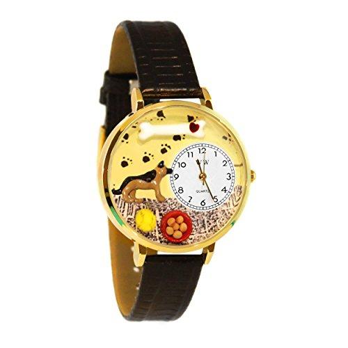 Whimsical Watches Unisex G0130040 German Shepherd Black Skin Leather Watch