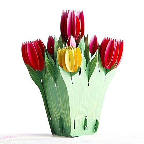 (Zzeroe 1 Pot Tulip Blossom Pop Up Card, 3D Flower Greeting Card for Mother's Day Thanksgiving Day Birthday, Multi Choices(Tulip))