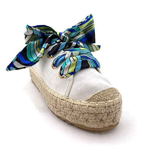 De rétro Vintage Angkorly Blanc Plateforme Avec Femme Foulard Cm Paille Talon La Derbies Compensé 4 Imprimé Chaussure Mode Espadrille XHwqYPH