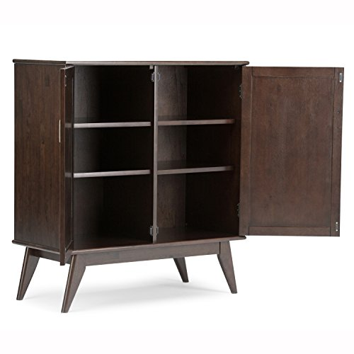 Simpli Home Draper Mid Century Solid Hardwood Storage Cabinet, Medium, Auburn Brown by Simpli Home (Image #2)