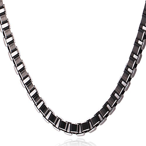 (U7 Men Women Alloy Box Chain Necklace 6MM Wide Square Box Link Chains 26 Inch)