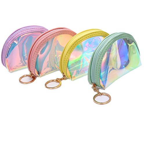 Holographic Cute Coin Purse and Wallet for Girls Jelly Shells Card HandBag Makeup Bag Small 4 ()