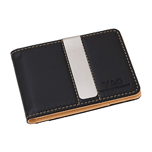 Y&G YCM13A06 Light Orange Mens Synthetic Leather Wallet Boyfriends Gift Idea with Stainless Steel Money Clip Black Business Dad Black Leatherette Money Clip