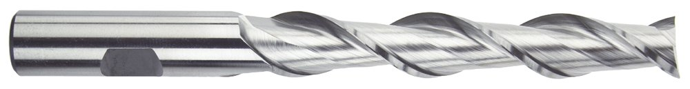 Bright Finish High-Speed Steel Morse Cutting Tools 44079 High Helix Extra Long Length Single End Mills 2 Flutes 1//2 x 1//2 Size Center Cutting