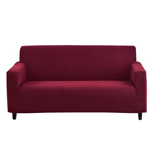 RUBEDER Stretch Sofa Slipcover Couch Cover 1-Piece Jacquard Polyester Spandex Fabric Elastic Furniture Protector (Knitted Stripe, Wine Red)