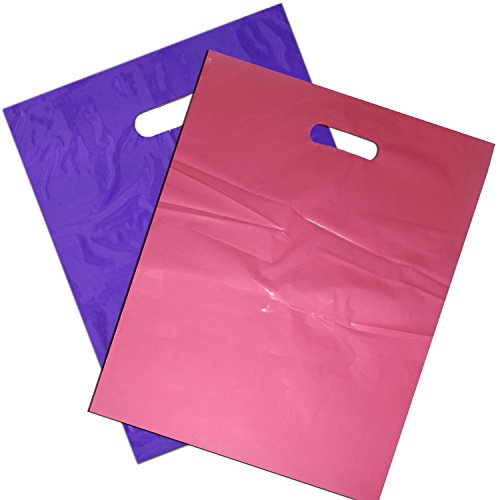 100 12x15 Glossy Pink and Purple Plastic Merchandise Bags - Merchandise
