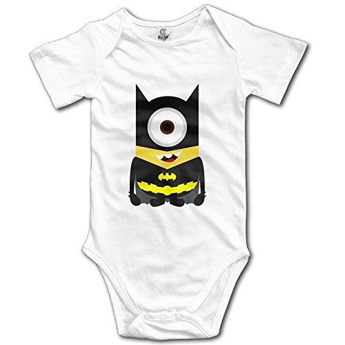 Kids Minions Batman Baby Bodysuits Rompers Little Boys Girls 100% Cotton 6 M White (Kids Minion Suit)