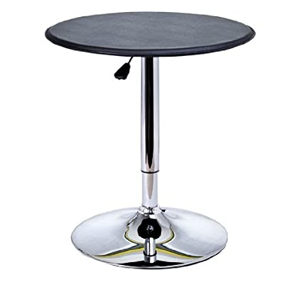HOMCOM 25u0026quot; Classic Round Adjustable PU Leather Top Chrome Standing Bistro  Bar Table