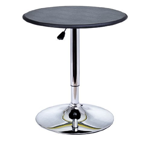 HomCom 25 Classic Round Adjustable PU Leather Top Chrome Standing Bistro Bar Table Aosom Direct 02-0071
