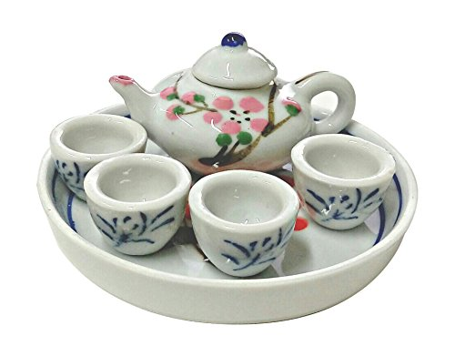 Kubrick Oriental Pottery Tea Cup Miniature Set China Teapot Dutch Clogs Klompen (Japanese Apricot - China Miniature