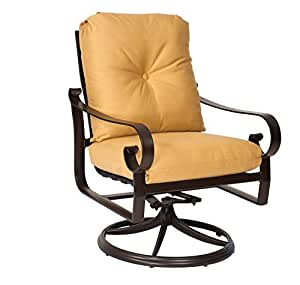 Woodard  Belden Cushion Swivel Rocker, Khaki, Brannon Whisper