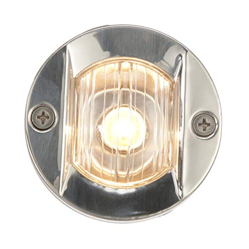 (Seachoice 05381 Navigation Transom Light with Stainless-Steel Flange - Round - Vertical Surface Mount - 3 Inch Diameter)