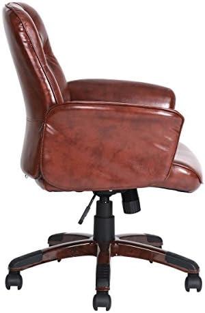 Oficina Silla apoyabrazos Lounge ajustable Rolling Brown Vintage PU cuero plástico  H6lcVJ