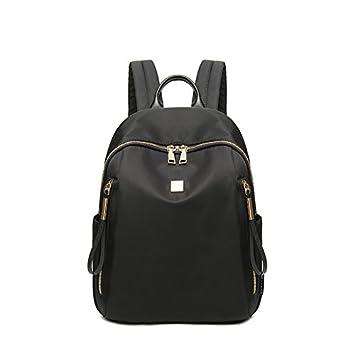 Mochila de tela Oxford ocio femenino moda mochila de lona negro: Amazon.es: Deportes y aire libre