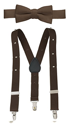Hold'Em Suspender and Bow Tie Set for Kids, Boys, and Baby - Proudly Made in USA - Extra Sturdy Polished Silver Metal Clips, Pre tied Bow Tie-Studed Brown