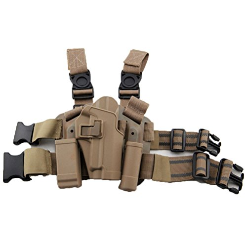 LTY Adjustable Tactical Airsoft Pistol Drop Leg Holster Bag Thigh Right Leg Holster with Magazine Torch Pouch SIG SAUER P226 P228 P229 (Tan)
