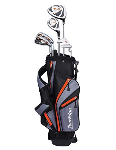 Tour Edge HL-J Junior Complete Golf Set with Bag (Right Hand, Graphite, 1 Putter, 2 Irons, 1 Hybrid, 1 Wood, 5-8 YRS) Orange (Junior Golf Clubs Age 6)