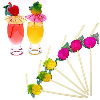New 50Pcs Hawaiian Theme 3D Fruit Summer Party Colorful Cocktail Drink Straw Funny FBA