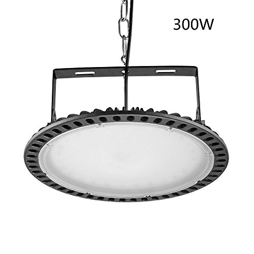 Viugreum 300W UFO LED High Bay Lighting,Ultra Slim,30000LM Daylight White(6000-6500K),Commercial Industrial Chandelier,for Garage,Factory,Workshop,Gymnasium,Basement Parking,Warehouse,Ship from USA by Viugreum (Image #7)