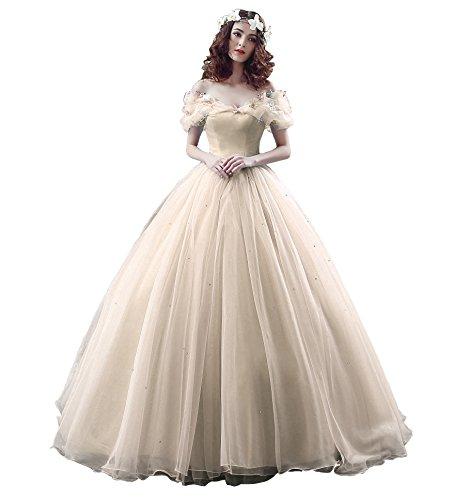 Yinyyinhs Au Large Des Robes De Mariée Robe De Bal Épaule Champagne Robe De Soirée De Robe De Bal De Femmes De Cendrillon