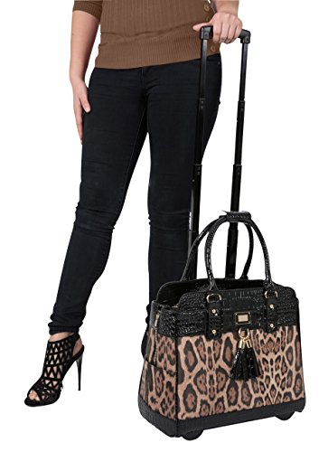THE ''LONDON LEOPARD'' & Alligator Rolling Computer, iPad Tablet or Laptop Tote Carryall Bag by JKM and Company