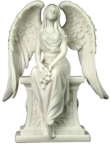 10.63 Inch Angel with Roses Sitting on The Tombstone - Marble White (Angel Tombstone)