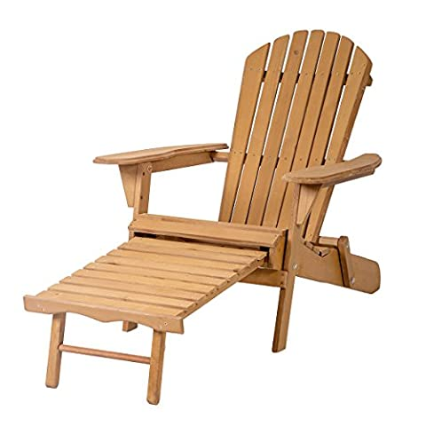 Outdoor Wood Adirondack Chair Foldable w/ Pull Out Ottoman Patio Furniture 240 (Adirondack Chairs With Ottoman)