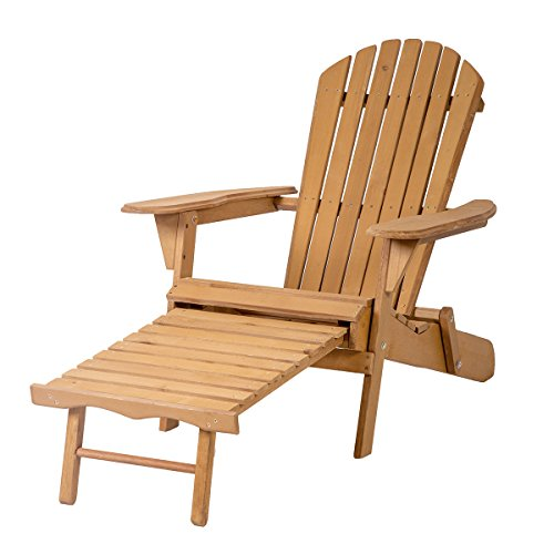 Outdoor Wood Adirondack Chair Foldable w/ Pull Out Ottoman Patio Furniture 240 - Garden Furniture Foldable Wood