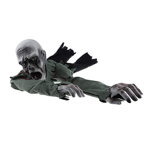 Prettyia Scary Halloween Bald Crawling Zombie Animated Haunted House Home Bar Night Club Party Decor Prop -