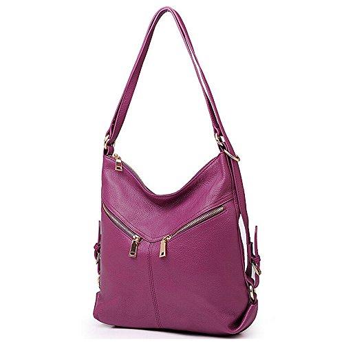 Convertible Leather Womens Backpack Zipper Handbag Daypack Bag SEALINF Purple Shoulder APOYY